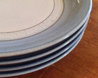 "Denby ""Castile"" Set of Four Dessert Bread Wedding Cake Plates"