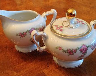 "H&C Heinrich ""Rosalinda"" Bavarian Cream and Sugar Set"