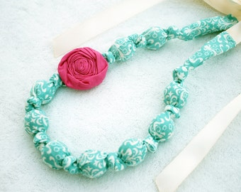 Fabric Necklace,Teething Necklace, Chomping Necklace, Nursing Necklace -Teal print with Pink Rose