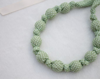 Fabric Statement Necklace, Chomping, Nursing, Teething Necklace - Sage Mini Dots