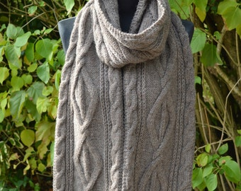 Cable knit extra long scarf in stone