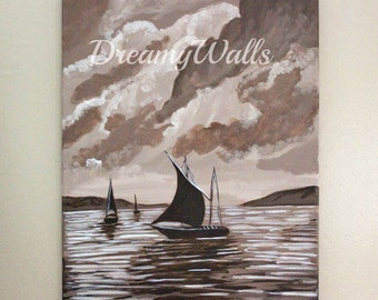 Sailboat painting,  sailboat art, sailboat decor, Art on Canvas