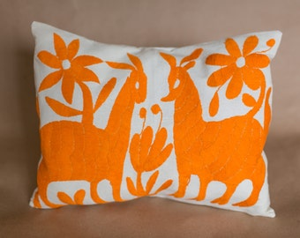 bright orange otomi embroidered pillow cover