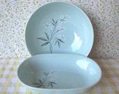 Vegetable Bowls - Ceramic - China -White Flowers -Vintage 1950's