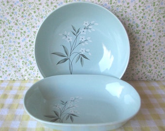 Mid Century Vegetable Bowls - Ceramic - Blue - White Flowers -Vintage 1950's