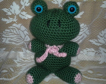 ON SALE - Crocheted Dark Green Frog
