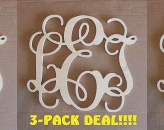 "3 PACK DEAL- 20"" INCH Large 3 Wooden Vine Connected Monogram Letter, Unfinished,Unpainted, wedding decor monogram, family decor"