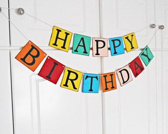 FREE SHIPPING, Happy Birthday banner, Happy birthday decorations, Happy birthday sign, First birthday party, Children's birthday, I am one