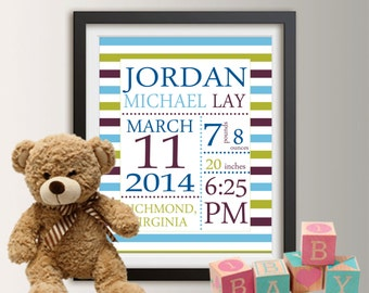 Personalized Birth Announcement, Personalized Wall Art with Baby Stats, New Baby Gift, Boy Nursery Decor, Baby Boy Gift, 8x10 Print 016