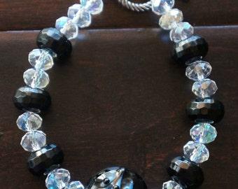 Black & Clear Glass Bead Bracelet
