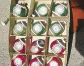 12 Vintage Christmas Ornaments Shiny Brite Double INDENT Unique Shapes Green and Red