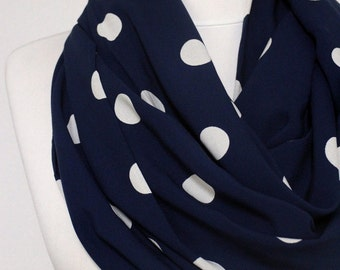 White on Navy Blue Polka Infinity scarf, Circle scarf, Loop scarf, scarves, spring - fall - winter fashion