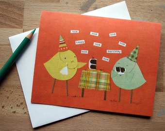 CARD: Nom Nom Nom Happy Birthday! - Birds Eating Cake While Wearing Party Hats Like Champs
