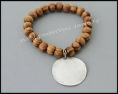Silver DISC / WOOD Stretch Bracelet - Natural Wood Beads / Antiqued Silver Blank Stamping COIN Charm Stacking Elastic Bracelet - Usa - 92