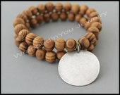 SET of 2 - DISC / WOOD Stretch Bracelet - Natural Wood Beads / Antiqued Silver Blank Stamping Coin Charm Boho Stacking Bracelet - Usa - 92