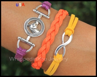 HORSE Snaffle Bit / Infinity Figure 8 Charm Bracelet - Equestrian Sport Braided Faux Suede Leather Cord Bracelet - COLOR / SIZE - USa