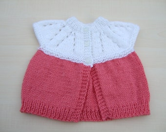 Baby sleeveless cardigan hand knitted in white and deep pink - newborn - knitted baby clothes - knit - baby knitwear - baby girls clothes