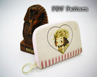 PDF wallet pattern, Zipper wallet pattern, Lady wallet sewing pattern, wallet pattern,