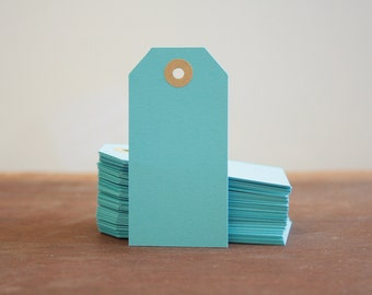 10 Mid Blue Hang Tags, Blue Gift Tags, Coloured Tags, Parcel Tags, Paper Tags