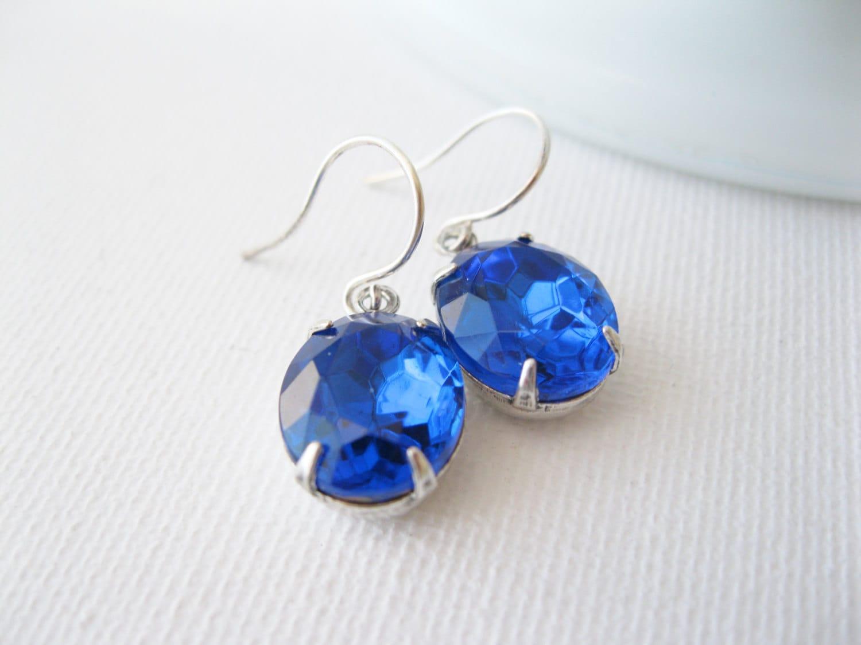 Sapphire Blue Drop Earrings Vintage by dellabellaBoutique ...