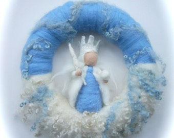 King Winter  Wreath . Needle Felted. Waldorf.Wool.snow,