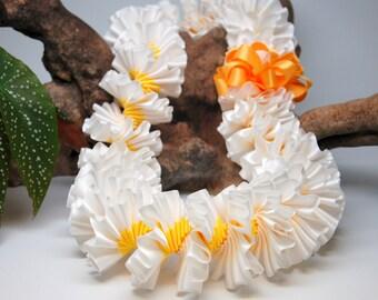 White and Yellow Plumeria Satin Ribbon Lei - Graduation, Graduate, Wedding, Birthday
