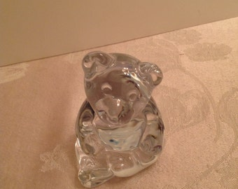 Vintage Lead Crystal Bear Figurine Paperweight by Princess House Germany