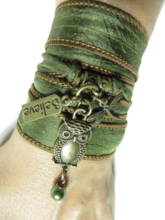 owl jewelry yoga bracelet wrap bracelet nature organic yoga