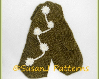 Knitting Pattern - Adult Size Mittens - Snowbuds on Mittens - Instant Download - pdf