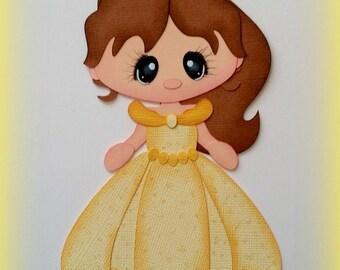 Elite4u Mindy Princess Belle Premade paper piecing for scrapbook page embellishment