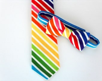 Boys neck tie, rainbow tie for kids, boys first birthday outfit, boy cake smash outfit, boys first birthday photo prop, baby boy bow tie