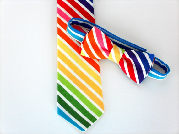 Rainbow Baby Boy Necktie Or Bow Tie