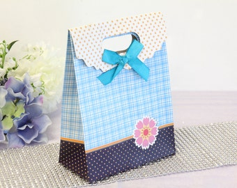 12x Paper Gift Bags, Blue Checkers, Wedding Shower Birthday Party Supplies
