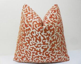 Burnt Orange Chenille Pillow Cover - Orange Cream Chenille Cushion  - Decorative Throw Coral Bay Pillow cover-