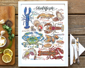 Shellfish illustration. Seafood print. Kitchen decor. Fish art. Food art. Lobster. Crab. Oyster. Crustaceans. Fish shop. Types of shellfish.