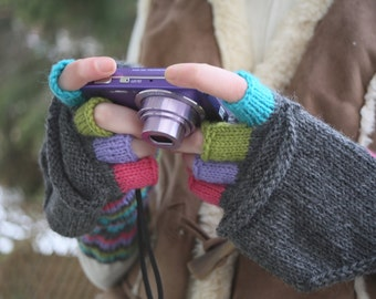 Mittens Gloves Peruvian Wool Women  Photographer Handmade Knitting Colorful