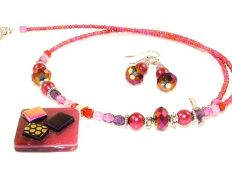 MAJOR MARKDOWN - Vibrant Magenta and Purple Beaded Dichroic Fused Glass OOAK Necklace