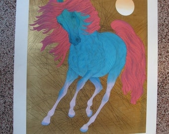 """Signed by Artist Limited Edition Gold Leaf Serigraph """"Monarque"""" by Guillaume Azoulay"""