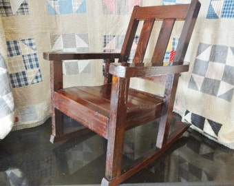 Antiqiue Childrens Rocking Chair - Arts & Crafts Style - Mission Style - Child's Mission Oak Rocker - Doll Display Rocker - Cottage Decor