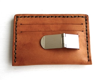 ID Wallet with money clip. Mens brown leather slim wallet with ID holder and card slots. Leather Mens Wallet