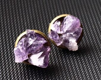 Amethyst Cluster Stud Earrings, Raw Amethyst Earrings
