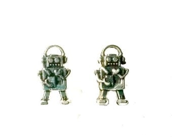 Robot Stud Earrings silver brass tiny post Handmade Gift