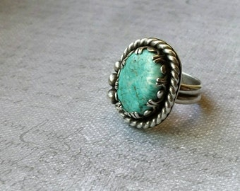 Turquoise and silver statement ring