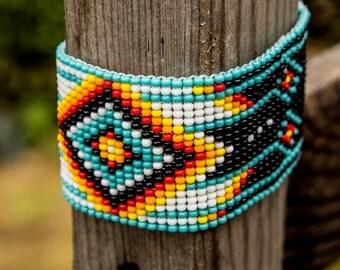 Fire flame in darkness , Native American Beaded Bracelets