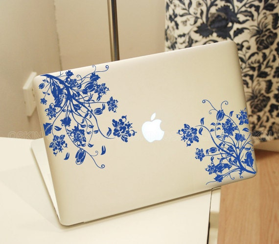 Flower Decal For Apple Logo Decal Sticker MacBook Pro Custom - Custom vinyl stickers macbook