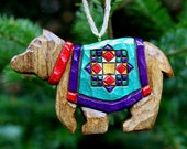 Hand Carved Bear Ornament Quilted Blanket Emerald Green Red Purple Gift
