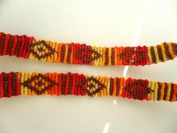 red and orange diamond aztec pattern friendship bracelet. Black Bedroom Furniture Sets. Home Design Ideas