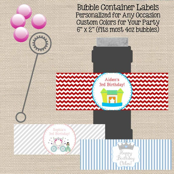 bubble bottle label template bubble bottle label custom personalized any occasion