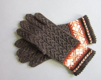 Brown Wool Gloves Hand Knitted Folk Gloves Brown Lace Gloves Womens Lace Gloves Ladies Lace Wool Gloves Spring Gloves