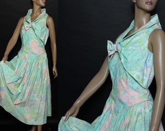Vintage 1970s Strapless Dress Bolero Jacket Pastel Floral Couture Mad Man Femme-Fatale Rockabilly Garden Party Pinup Bombshell Cocktail